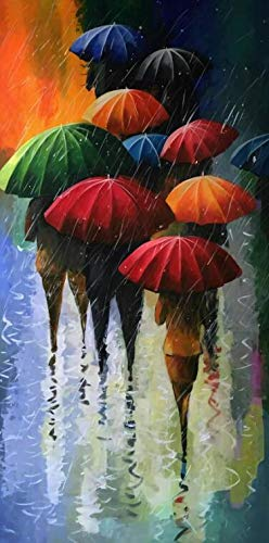 Paraguas de Lluvia Abstracta,pósteres Lienzo Pintura Pintura Al Óleo Pintura Impresa Pintura-50X100CM-No Frame