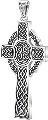 US Jewels and Gems New 0.925 Sterling Silver Irish Celtic Knot Cross Religious Pendant 43mm