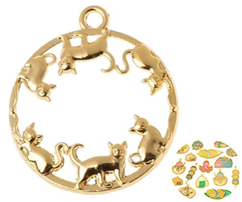 2 Stück Gold-Ton-Katze-Haustier-Tier-Runde Metall-Rahmen-Schacht-Einstellung Für Epoxid-Uv-Harz, Polymer Clay Open-Back-Halskette-Schmuck Diy 34mm x