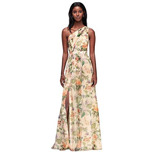 David's Bridal Long One Shoulder Printed Chiffon Bridesmaid Dress Style F18055P, Floral Multi Print, 0