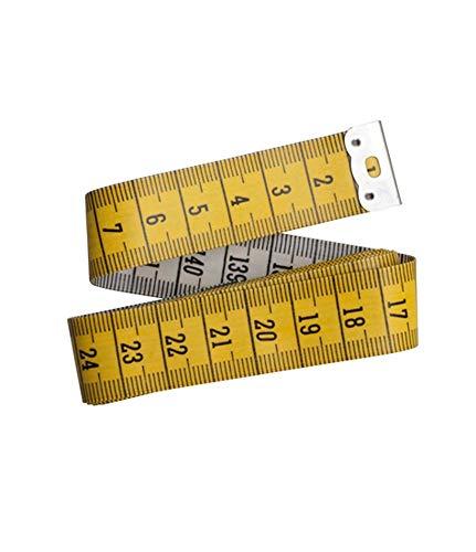 Glorex 5 2001 31 - Cinta métrica (150 cm de longitud, con escala en cm, parte delantera amarilla, parte trasera blanca, con inscripción en negro, marco de metal en los extremos), varios colores