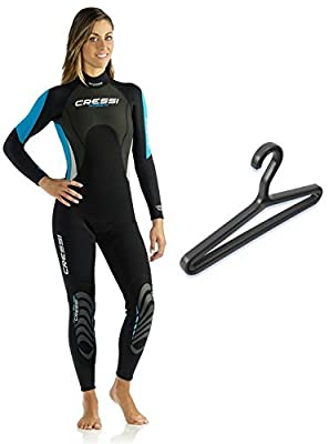 Cressi Women's Morea 3mm Wetsuit with Hanger, Black/Aqua, 2/Small