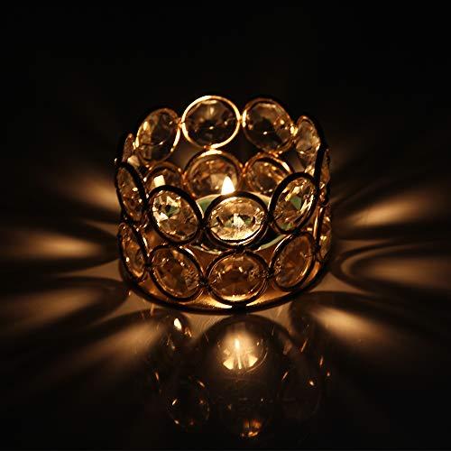 VINCIGANT Kristall Kerzenständer Gold, Teelichthalter 4er Set, Deko Garten