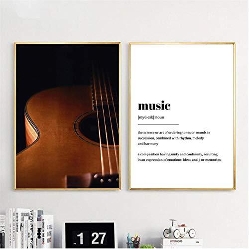 SQWPATS Moderne Gitarre Musical Lyrics Zitate Kunst Leinwand Malerei Nordic Home Decoration Poster und Drucke Wandbild für Wohnzimmer 40x60cm Ungerahmt