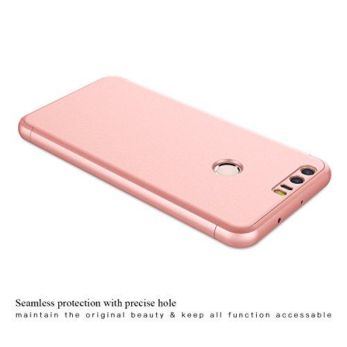 CE-Link für Huawei Honor 8 Hülle Hardcase 3 in 1 Ultra Dünn 360 Full Body Schutz Schutzhülle Anti-Kratzer Elegant Stoßfest Hart PC Skin Rückdeckel Glatte Rückseite Bumper Handyhülle - Rosegold - 5