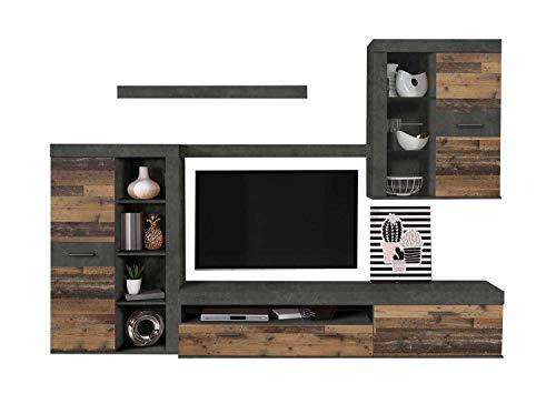 Möbel Jack Wohnwand Anbauwand Wohnzimmerschrank 5-TLG. | Dekor | Old Wood | Braun | Grau