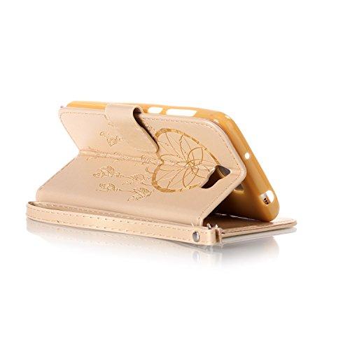ISAKEN Huawei Y5 II Hülle, Glitzer PU Leder Brieftasche Geldbörse Wallet Case Handyhülle Tasche Schutzhülle Etui mit Handschlaufe für Huawei Y5 II/Huawei Y6 II Compact - Dream Catcher Gold - 4