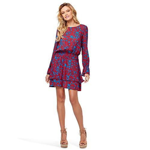 Jessica Simpson Women's Ara Smock Waist Long Sleeve Dress, American Beauty Forest Flowers, XLarge