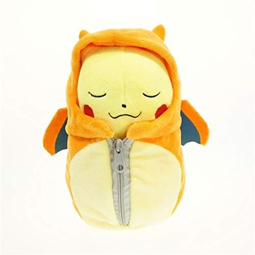 hokkk 20 cm Pikachu Plüschtiere Puppen Cosplay Charizard Ekans Eevee Schlafsack Weiche Kuscheltier Puppe 20 cm E