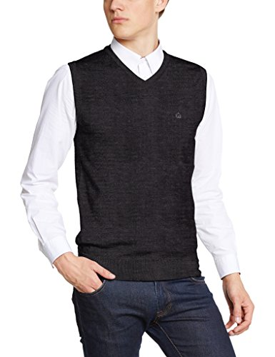 Merc of London JENZ, Sleeveless Pullover Maglia, Grigio (Gris (Marl Charcoal), S Uomo
