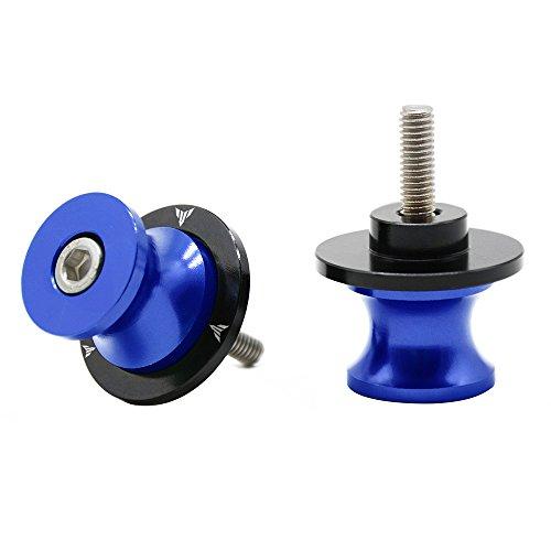 2 pcs M6 *1.5 Nottolini Assen Swingarm Spool Screw 6mm Per Yamaha MT01 MT-01 FZ-01 MT03 MT-03 MT-125 MT09 MT-09 MT10 MT-10 (Blu)
