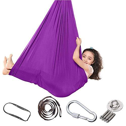 CJCJ-LOVE Balancelle pour enfants, kit de yoga sensoriel suspendu pour intérieur/extérieur, camping doux en forme de trapèze, 280 x 150 cm L violet