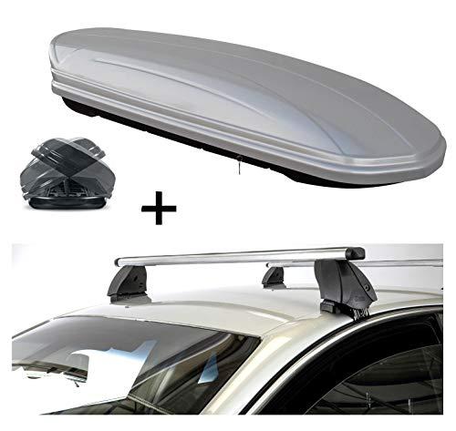 VDP dakkoffer MAA460 460 liter Duo aan beide zijden openklapbaar zilver + dakdrager K1 PRO aluminium compatibel met Mazda Cx-5 (5-deurs) vanaf 17