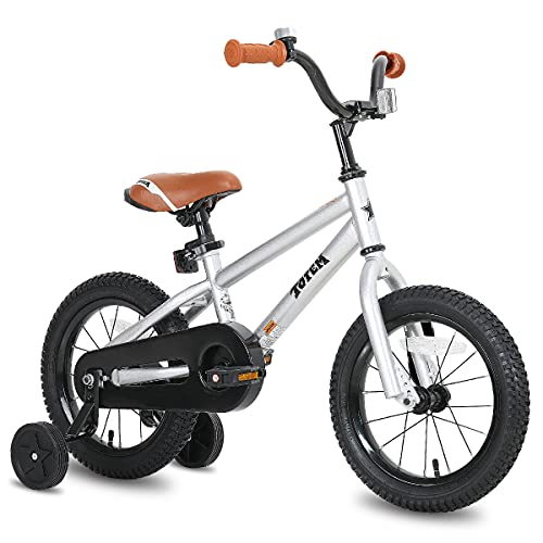 JOYSTAR 12 Inch Kids Bike for 2 3 4 Years Boys Girls Gifts Bikes Unisex Child Bicycle with Training Wheels BMX Style 85% Assembledv Silver