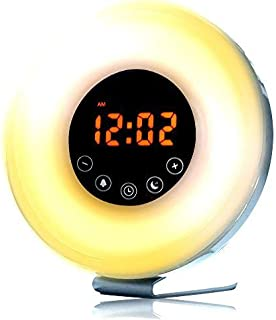 Sunrise Alarm Clock, Wake Up Light with 6 Nature Sounds, FM Radio, 6 Color Light Alarm for Bedrooms & Bedside Sunlight Simulation - Digital Clock, LED, Snooze & Intuitive Touch Control by BrookRunner