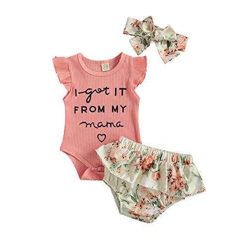 Eghunooze Mameluco de manga corta rosa con estampado de I GOT IT de My Mama, pantalones cortos con volantes y diadema, 3 piezas, conjunto de trajes de verano de algodón para bebés de 0 a 12 meses