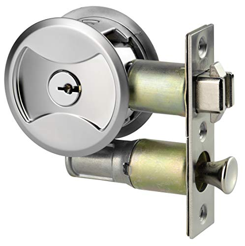 Keyed Pocket Sliding Door Lock CL4ENTR Matte Silver