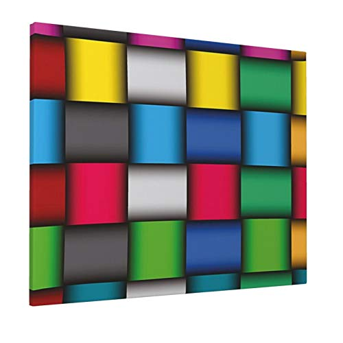 Geometric Neon Colored Mosaic Digital Style Abstract Squares 3D Effect Vibrant Graphic Art Multicolor Painting Premium Panoramic Canvas Wall Art Painting 16'X 20'