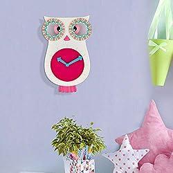 SkyNature Girls Wall Clock, Cute Owl Creative Decor Pendulum Clock, Indoor Analog Quartz Battery Operated Home Clock for Living Room, Bedroom, Princess Room, Play Room, Classroom - 12 x 8 Inch, Pink