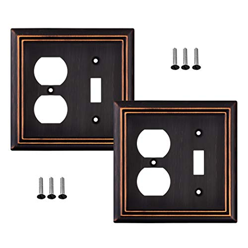 Pack of 2 Wall Plate Outlet Switch Covers by SleekLighting | Decorative oil rubbed bronze | Variety of Styles: Decorator/Duplex/Toggle / & Combo | Size: 2 Gang Combo Toggle and Receptacle