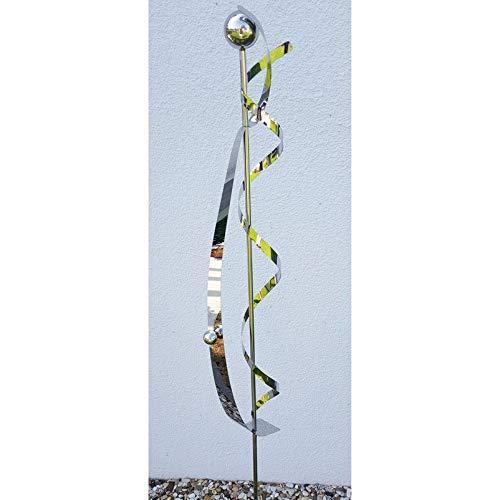 Pflanzen Kölle Beetstecker Nemesis aus Edelstahl mit 1 Kugel und Stab, Maße 150 x 14 x 6 cm
