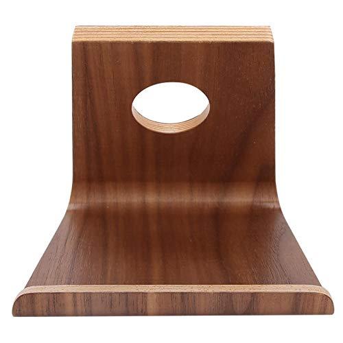EVTSCAN Soporte para tableta, Soporte para teléfono celular de escritorio Soporte de madera Tuerca marrón Doble cara Soporte de soporte para teléfono móvil Tablet PC de escritorio