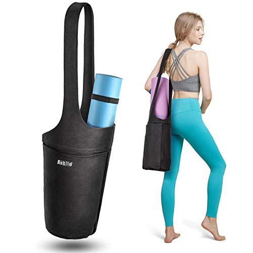 ASKITO Yoga Mat Bag by Yoga Mat Tote Sling Carrier w/Large Side Pocket & Zipper Pocket   Fits Most Size Mats (Black)