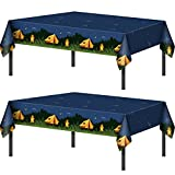 Camping Party Tablecloth Adventure Camp Out Design Plastic Rectangular Picnic Hiking Camper Tablecover for Campfire Forest Nature Birthday Party Decorations (2 Pieces)