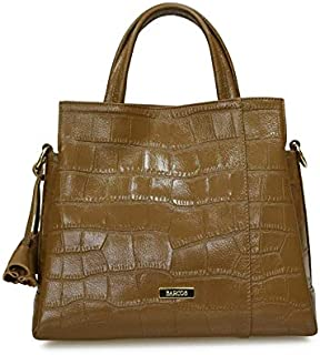 Hanaa-fu Womens 2-Way Crocodile Embossed Leather Handbag