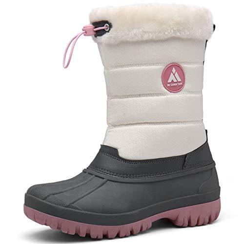 Mishansha Mujer Botas de Nieve Antideslizante Botas Apreski Comodos Botas para el Frio Botas Forradas de Piel Botas de Invierno Protección contra el Frío,Rosado 40