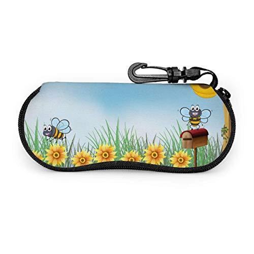 GOSMAO Funda Gafas Cuatro abejas en el jardín Neopreno Estuche Ligero con Cremallera Suave Gafas Almacenaje