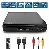 LONPOO Lettore DVD compatto multi-regione con uscita HDMI / SCART / RCA, porta USB e 2 * M...