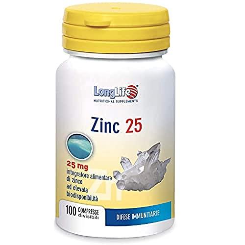 Zinc 25 LongLife   Integratore di zinco organico ad elevata biodisponibilità   Alto dosaggio   Funzione cognitiva, immunitaria, salute ossa, capelli e pelle   100 cpr   Doping Free Gluten Free & Vega