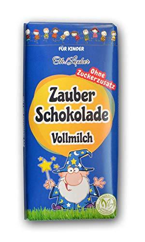 Kinder Schokolade Ohne Zucker Zusatz zum Verschenken, 80g - Zauberschokolade von Oh! Lecker - Vollmilch   Alkoholfrei   Ohne Gentechnik  Ballaststoffreich  low-carb
