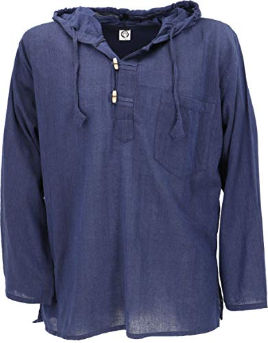 GURU SHOP Nepal Hemd, Goa Hippie Sweatshirt, Yogashirt, Schlupfhemd mit Kapuze, Herren, Blau, Baumwolle, Size:L, Hemden Alternative Bekleidung