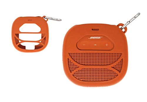Silicone Cover Skin for Bose SoundLink Micro Portable Outdoor Speaker, by Alltravel, Full 6 Directions Protection, Customized Skin with Color and Shape Matching, Carabiner (Orange)