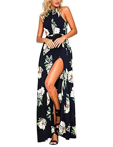 MODETREND Mujer Vestido Largo de Sin Mangas Escotado por Detrás Maxi Vestidos Playa Playero Vacaciones y Coctel Partido Azul M