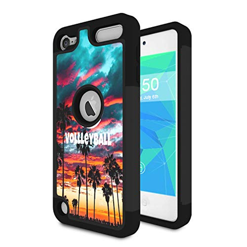 iPod Touch 7 Case, iPod Touch 6 Case, Spsun Dual Layer Hybrid Hard Protector Cover Anti-Drop TPU Bumper for Apple iPod Touch 5/6/7th Generation,Volleyball