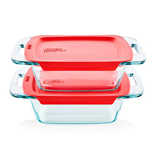 """Pyrex Easy Grab Baking Dish with lid Food Storage, 8"""" x 8"""""""