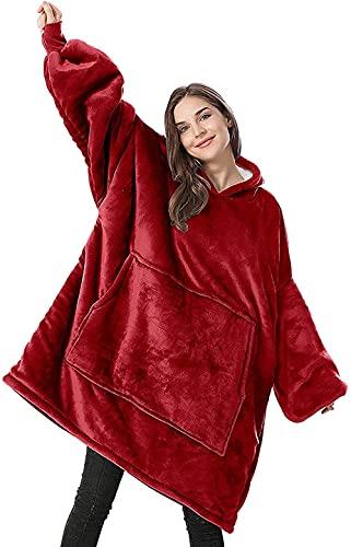 Keepgo Huggle Sudadera con Capucha Pullover Sudadera con Capucha Manta de Franela Rojo