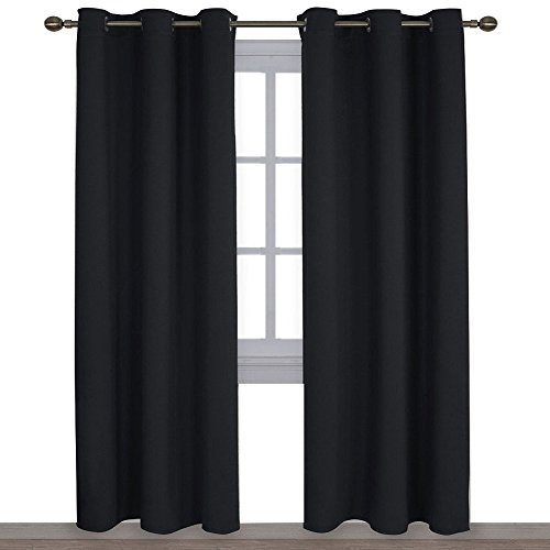 NICETOWN Autumn/Winter Thermal Insulated Solid Grommet Blackout Curtains/Drapes for Living Room (Set of 2, 42 inches by 84 Inch, Black)