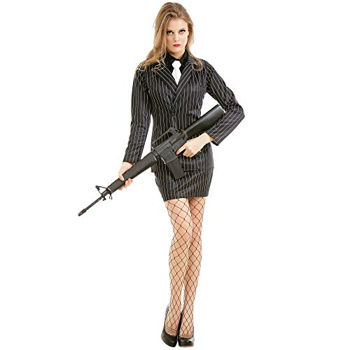 Dangerous Dame Women's Halloween Costume   Classic 1920s Gangster Outfit, L Black
