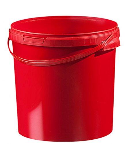 Fuduu.de Kunststoff Eimer farbig 21,1 ltr. mit Deckel (1 Stück) (rot)