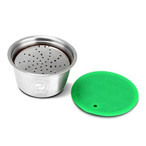 Donpow Cápsula de cápsula reutilizable de acero inoxidable con tapa para filtro de café recargable Nespresso Dolce Gusto