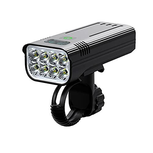 Wasafire Luci per Bicicletta, 3200 Lumen, 8 LED, 5200 mAh, 5 Ore di Tempo di Lavoro, Faro per Bicicletta, 5 modalità di Luce Anteriore per Bicicletta da Strada Impermeabile