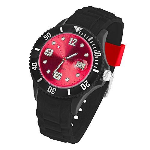 Taffstyle Armbanduhr Silikon Analog Quarz Uhr Farbige Sport Bunte Sportuhr Ziffernblatt mit Datum Damen Herren Unisex Schwarz Rot