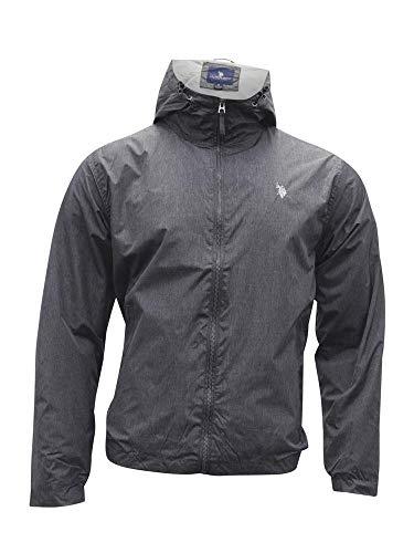 U.S. Polo Assn. Men's Windbreaker Jacket, Black Heather, L