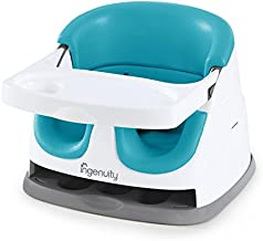 Ingenuity Baby Base 2-in-1 Booster Feeding and Floor Seat with Self-Storing Tray – Peacock Blue