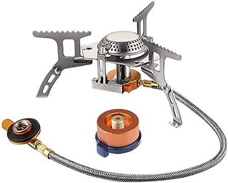JIALI - Hornillo de gas plegable con encendido piezoeléctrico, 3500 W, para cartuchos de gas, con adaptador, para picnic y exteriores