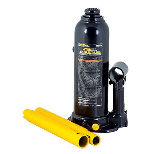 Omega-Lift Hydraulic Welded Bottle Jack - 4 Ton (8,000 Lbs) Capacity with Side Pump Two-Piece Handle
